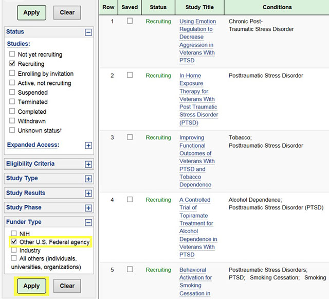 Clinical trials screen 2 - search and filter for studies