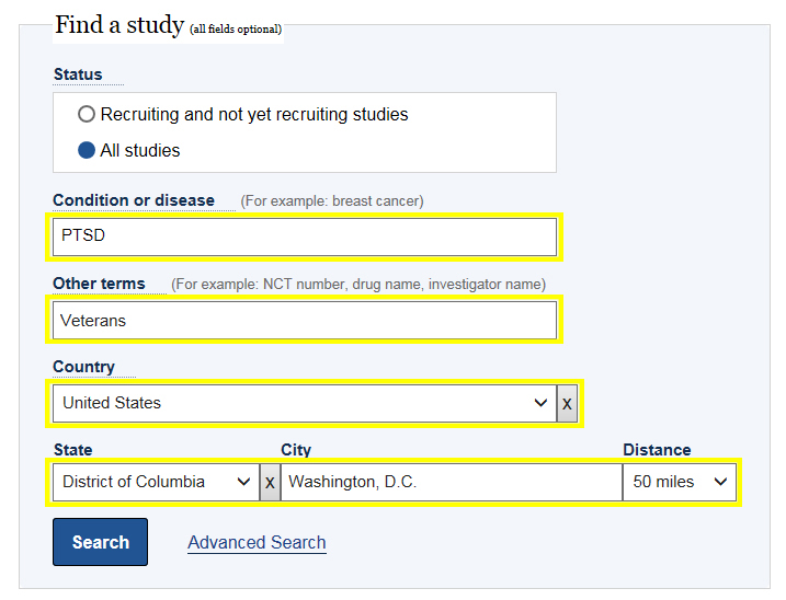 Clinical trials screen - search for studies