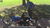 Pedaling a recumbent trike—with paralyzed legs -