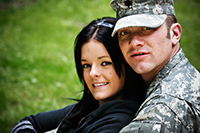 male soldier with his wife