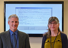 Lead author Carol Malte (right) and principal investigator Dr. Eric Hawkins led a study of an electronic medical record alert designed to reduce co-prescribing of opioids and benzodiazepines. (Photo by Christopher Pacheco)
