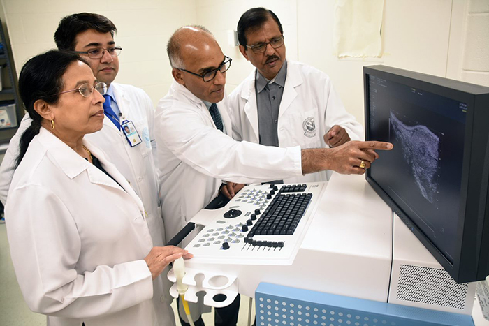 Study researchers Drs. Snigdha Banerjee, Suman Kambhampati, Sushanta Banerjee, and a colleague examine a pancreatic cancer image. (Photo by Jeff Gates)