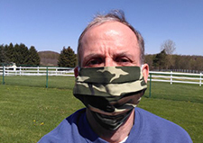 HERL director Dr. Rory Cooper wears one of the cloth face coverings that his facility has helped produce. (Photo courtesy of the Human Engineering Research Laboratories)