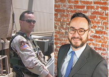 Sean McGrane serving in Iraq in 2005, and as a civilian today. (Photos courtesy of Sean McGrane)