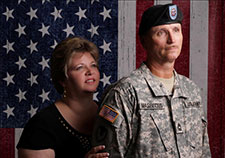 Cheryl and Rob Masevicius posed for this military portrait in 2010. (Photo by Ian Furlong Photography)