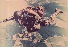 Christianson does a high, altitude low opening parachute jump. (Photo courtesy of M. Christianson)