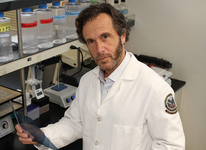 Dr. Matthew Rettig, chief of hematology and oncology at the VA Greater Los Angeles Health Care System and one of VA's top prostate cancer researchers, is leading a clinical trial to investigate a prostate cancer drug as a potential treatment for male Veterans with COVID-19. (Photo by Scott Hathaway)