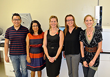 The Gulf War Illness research team at the Roskamp Institute includes (from left) Thinh Nguyen, Laila Abdullah, Fiona Crawford, Ghania Ait-Ghezala, and Tanja Emmerich.
