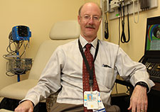 Dr. Les Katzel, a geriatrician, studies the effects of exercise and weight loss on the health and function of older adults. He is with the Baltimore VA Medical Center and the University of Maryland. (Photo by Mitch Mirkin) )