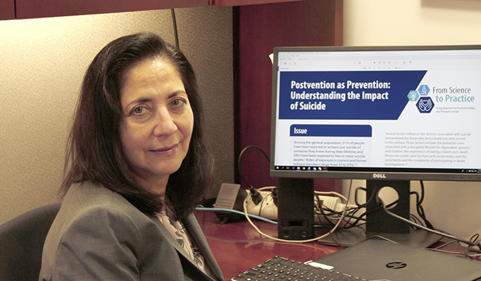 Pictured: Dr. Gloria Workman, with the VA Office of Mental Health and Suicide Prevention, is leading an educational series that translates published research into informative tips for VA suicide prevention coordinators and mental health providers. (Photo by Mike Richman)