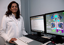 Dr. Uzma Samadani is developing protocols to detect mild brain injury based on eye tracking. (Photo by Lamel Hinton))