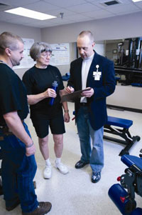 Researcher Dr. Marcas Bamman (right),with VA and the University of Alabama at Birmingham, talks with study participant Barbara Wiggins and exercise physiologist Craig Tuggle