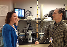 Lab assistant Marlies Ozias (left) chats with Dr. Peter Reaven at the Phoenix VA Medical Center