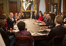 VA Under Secretary for Health Dr. David Shulkin can be seen to Vice President Joe Biden's left in this photo from a National Cancer Moonshot meeting earlier in 2016. <em>(Photo courtesy of the White House)</em>