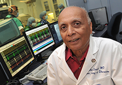 Dr. Steve Singh at the Washington, DC, VA Medical Center is chairing a VA cooperative study to test the safety and efficacy of implantable cardiac defibrillators. The study will involve Veterans age 70 and older.  <em>(Photo by Robert Turtil)</em>